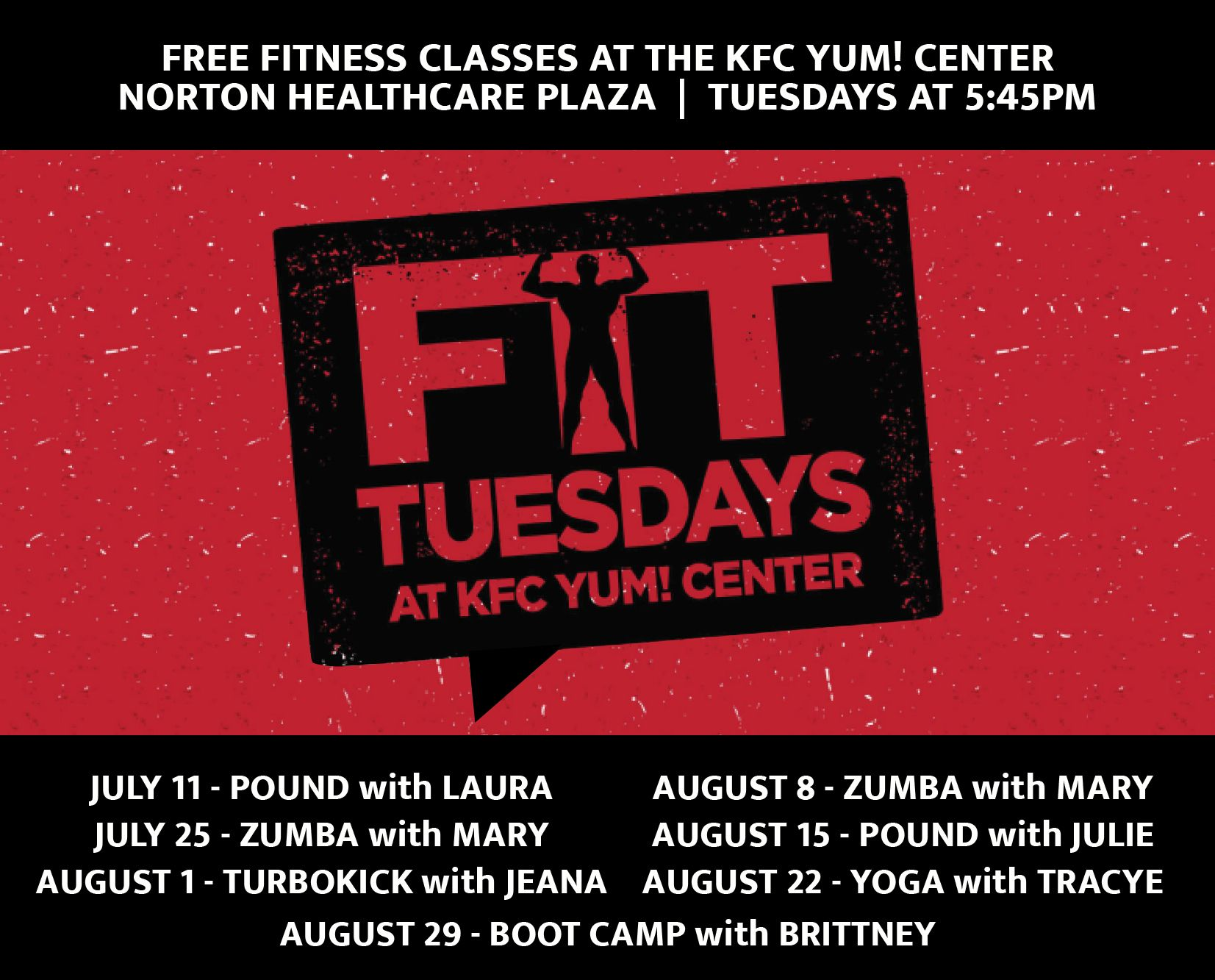 June, July, & August - Fit Tuesdays at the KFC Yum! Center image