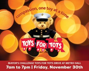 November 30: Mayor's Challenge Toys for Tots Drive image